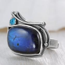 labradoryt,topaz,niebieski,pierścionek - Pierścionki - Biżuteria