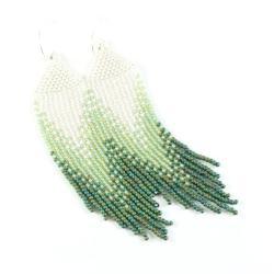 kolczyki boho,kolczyki koralikowe,ombre - Kolczyki - Biżuteria