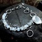 Bransoletki Srebrna bransoleta z kamieniem księżycowym