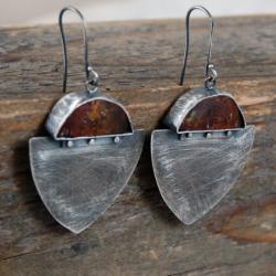srebrne kolczyki z bursztynem - Kolczyki - Biżuteria