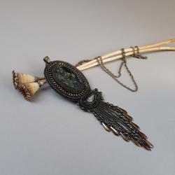 naszyjnik,z jaspisem kambaba,długi,zielony,haft - Naszyjniki - Biżuteria