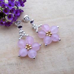 lekkie,delikatne,kwiatki,kwarc,różowy - Kolczyki - Biżuteria