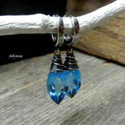 letnie kolczyki,akwamarynowe kwarce - Kolczyki - Biżuteria