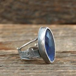 srebrny pierścionek z iolitem - Pierścionki - Biżuteria
