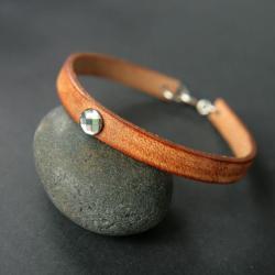 bransoletka,skóra,kryształki,brąz,simple - Bransoletki - Biżuteria