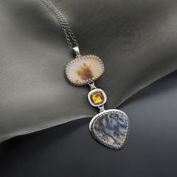 srebrny,wisior,z kwarcem,z bursztynem,długi - Wisiory - Biżuteria