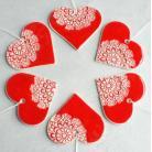 Ceramika i szkło serca,zawieszki,koronka,folk