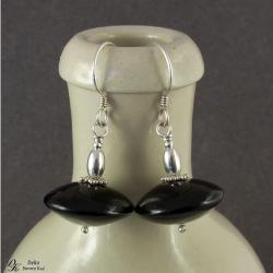 kolczyki,eleganckie,onyks,dyski,czarny,srebro, - Kolczyki - Biżuteria