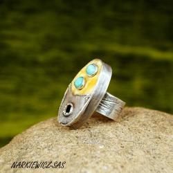 Pierścionek z bursztynem i amazonitem - Pierścionki - Biżuteria