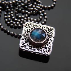 srebro,labradoryt,naszyjnik,celebrytka - Naszyjniki - Biżuteria