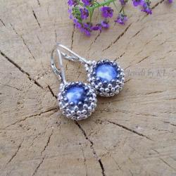 lekkie,kobiece,niebieskie,koronka,ażur - Kolczyki - Biżuteria