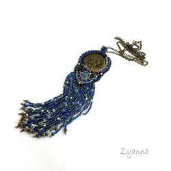 naszyjnik,długi,oryginalny,niebieski - Naszyjniki - Biżuteria