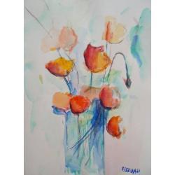 kwiaty,czerwień,akwarela,cienkopis - Obrazy - Wyposażenie wnętrz