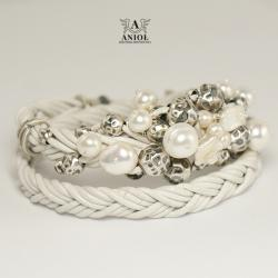 bransoleta skórzana srebrna biżuteria,perły - Bransoletki - Biżuteria