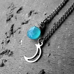 zestaw,niebieski,chalcedon,surowy,księżyc - Naszyjniki - Biżuteria