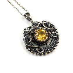 wisiorek,retro,wire-wrapping,cytryn,żółty - Wisiory - Biżuteria