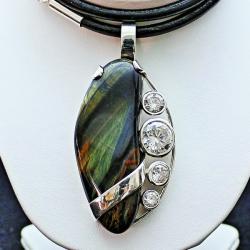 WISIORY,srebro,sokole oko,kwarc,duże wisiory, - Wisiory - Biżuteria