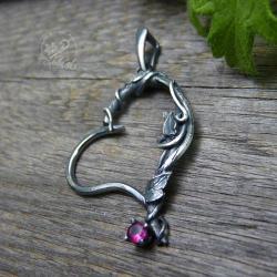 wisiorek,serce,srebrne liście,gałązki - Wisiory - Biżuteria