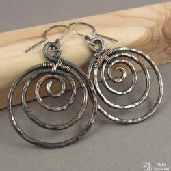 kolczyki,miedziane,spiralki,etno,miedź,koła, - Kolczyki - Biżuteria