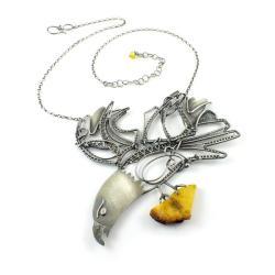 naszyjnik,orzeł,wire-wrapping,okazały,bursztyn - Naszyjniki - Biżuteria
