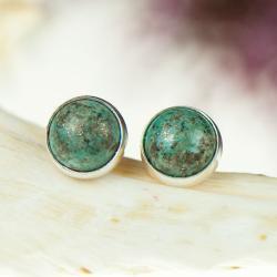 sztyfty srebrne z turkusem,małe kolczyki,artseko - Kolczyki - Biżuteria