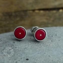srebro,koral,surowy,oksydowany,minimalizm, - Kolczyki - Biżuteria