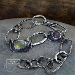 srebro,surowa,prehnit,łańcuch,kuta,kwarc, - Bransoletki - Biżuteria