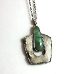 srebrny wisior ze szmaragdem - Wisiory - Biżuteria