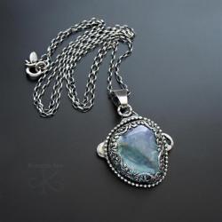 srebrny,wisior,z kryształem,aqua aura - Wisiory - Biżuteria