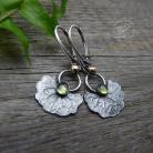 Kolczyki srerbne,peridot,oksydowane,srebrny liść,natura
