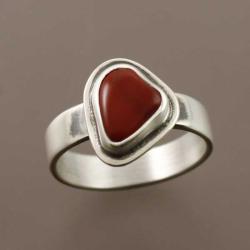 pierścionek z jaspisem czerwonym - Pierścionki - Biżuteria
