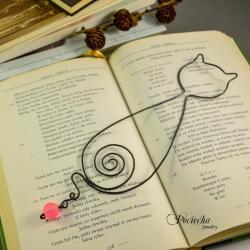 kot,zakładka,metaloplastyka,kotek,prezent - Zakładki do książek - Akcesoria
