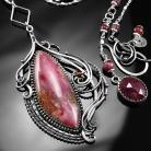 Naszyjniki srebrny,naszyjnik,wire-wrapping,różowy,opal,ciba