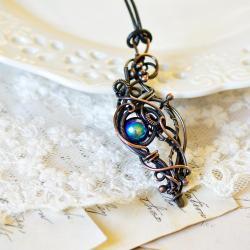 naszyjnik,miedź,reto,zorza,wire wrapping,antyk - Naszyjniki - Biżuteria