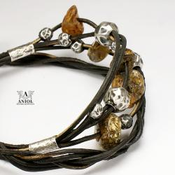 bransoleta skórzana z bursztynem,srebrna biżuteri - Bransoletki - Biżuteria