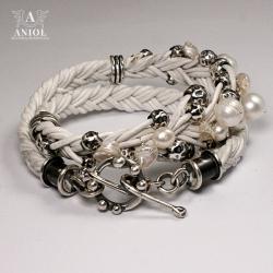 bransoleta skórzana,biżuteria z pereł - Bransoletki - Biżuteria