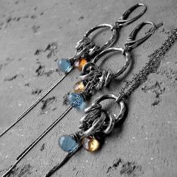 nowoczesny,oksydowany,kamienie naturalne, - Komplety - Biżuteria