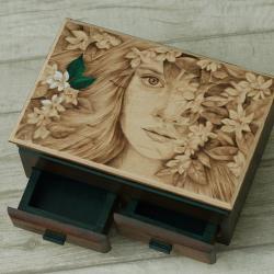 pirografia,jaśmin,kobieta - Pudełka - Wyposażenie wnętrz