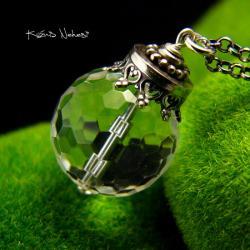 Nehesi,naszyjnik,srebrny,srebra,kryształem górskim - Naszyjniki - Biżuteria