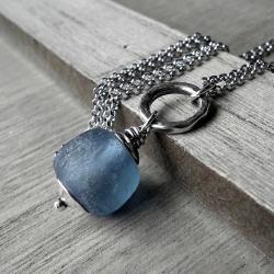 błekitny,ekologiczny,surowe szklo,srebrny, - Naszyjniki - Biżuteria
