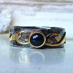 srebro,złoto,pierścionek,oksydowany,szafir - Pierścionki - Biżuteria