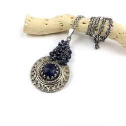 wisior,szafir,retro,naszyjnik,delikatny,elegancki - Naszyjniki - Biżuteria