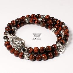 bransoleta,czaszka ptaka,koraliki - Dla mężczyzn - Biżuteria