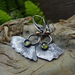 srebrne,organiczne,natura,miłorząb,peridot - Kolczyki - Biżuteria
