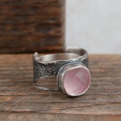 srebrny pierścionek z kwarcem - Pierścionki - Biżuteria