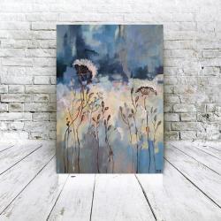 łąka,niebieska,akryl,płotno - Obrazy - Wyposażenie wnętrz