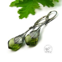 delikatne,srebrne,zielony kwarc,srebrny liść - Kolczyki - Biżuteria