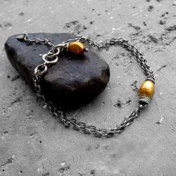 delikatna,subterlna,łańcuszkowa,z perłą,srebrna - Bransoletki - Biżuteria