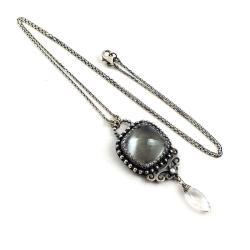 naszyjnik,kryształ górski,srebrny,elegancki,retro - Naszyjniki - Biżuteria