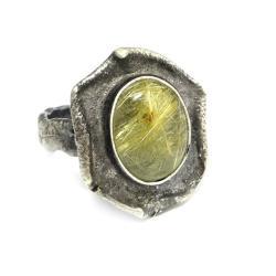 rutylowy,mineralny,blask,srebro,srebrny,złocisty - Pierścionki - Biżuteria
